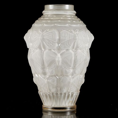 Etling Art Deco Butterfly Cut Glass Vase