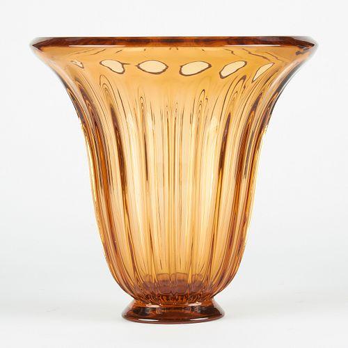 Large Daum Nancy Amber Vase