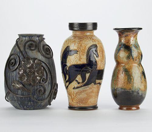 Grp: 3 Roger Guerin & Edgard Aubrey Ceramic Vases