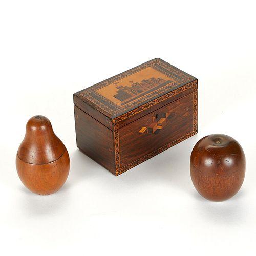 Grp: 3 Tea Caddies - Turnbridgeware Castle Pear & Apple