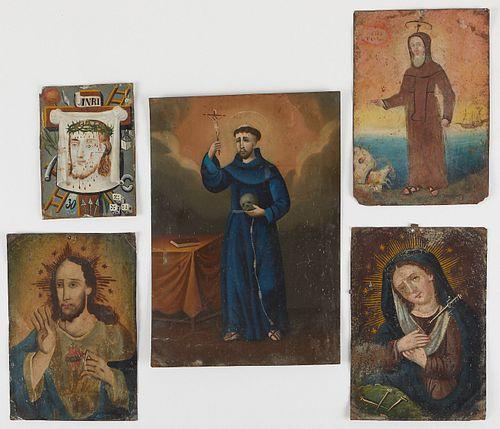 Grp: 5 Mexican Retablos of Mary Jesus Saints