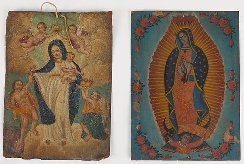 Grp: 2 Retablos of Virgin of Guadalupe