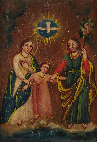 Grp: 4 Mexican Retablos Christ and King Framed