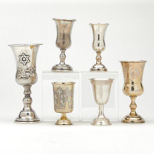 Grp: 6 Jewish Silver Seder Cups