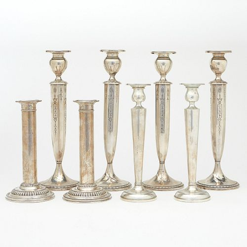 Grp: 8 Paired Sterling Silver Candlesticks