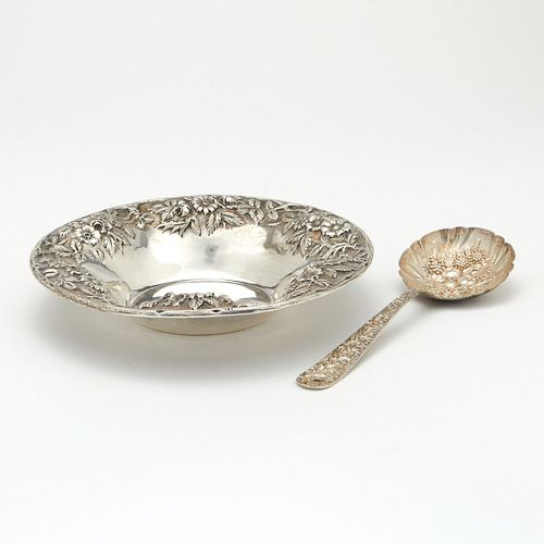 S. Kirk and Sons Repousse Sterling Silver Nut Dish and Spoon