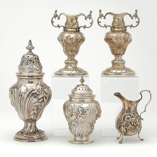 Grp: 5 English Sterling Silver Hollow Ware Objects