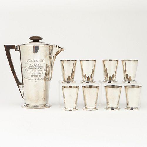 """Meriden S.P. Co """"Ile De France"""" Shaker and 8 Glasses"""