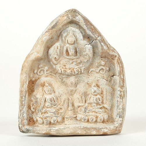 SE Asian Stone Relief Three Seated Figures
