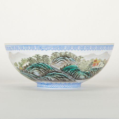 Chinese Eggshell Porcelain Bowl w/ Mountain Scene