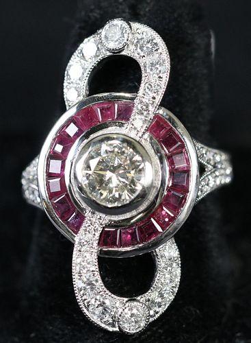 PLATINUM 1.61CT RUBY & 2.09CT DIAMOND RING