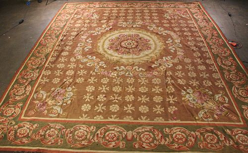 19th CENTURY HAND KNOTTED AUBUSSON RUG