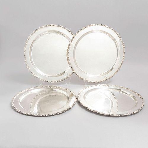 Lote de 4 platos. México, SXX. Elaborados en plata Ley 0.925. sellados MRR. Peso: 2589 g.