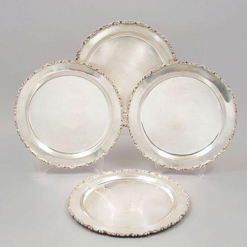 Lote de 4 platos. México, SXX. Elaborados en plata Ley 0.925. sellados MRR. Peso: 2577g.