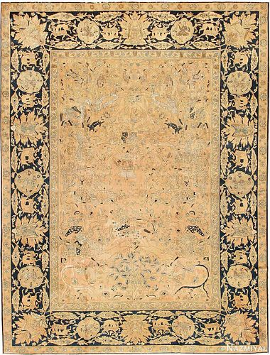 ANTIQUE SILK AND WOOL INDIAN AGRA HUNTING CARPET. Circa date: 1910. 16 ft 5 in x 12 ft 5 in (5 m x 3.78 m ).