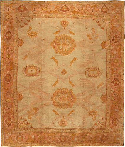 OVERSCALE ANTIQUE PALE TURKISH OUSHAK CARPET. 14 ft 5 in x 12 ft 3 in (4.39 m x 3.73 m).