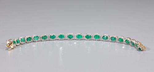 14K Gold, Emerald & Diamond Bracelet