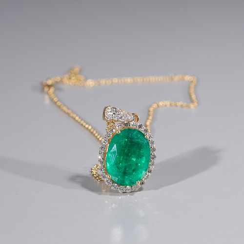 Emerald & Diamond 18K Gold Necklace