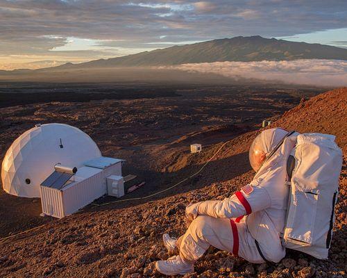 Cassandra Klos, BFA '14 - Mars Sunset over Olympus Mons (Commander Kluger of RAVEN-1/HISEAS Mission) *