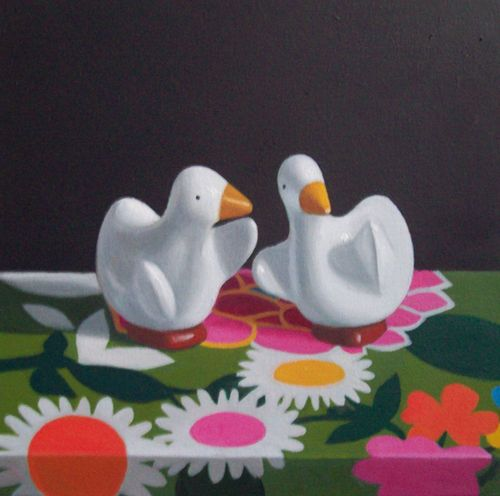 Maureen O'Connor, Ducks on Floral Fabric