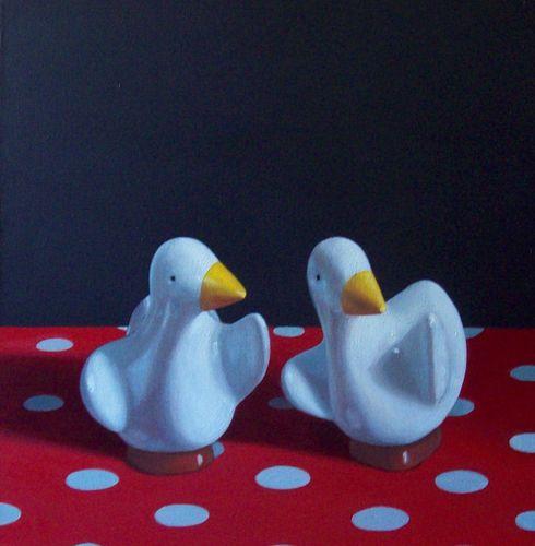 Maureen O'Connor -  Ducks & Red Polka Dot Fabric *