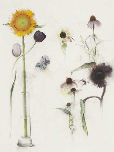 Linda Etcoff, SMFA '75, '76, 5th Year Traveling Fellowship Award, Sunflower in Vase * and Other Flowers