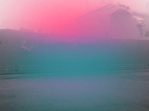 Jeffrey Heyne, Dry Dock Ship with Fuchsia and Cobalt Green, 9:24am
