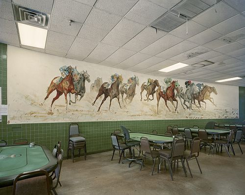 Jim Dow, Mural in Main Clubhouse at angle, Rockingham Park, now a Casino. I-93, Salem, NH 2016