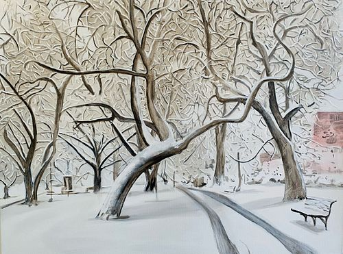 Kim Druker Stockwell, MFA '16, Common Wealth Avenue in Fresh Snow