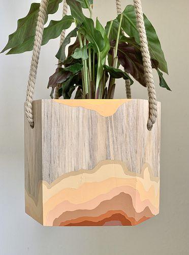 "Elizabeth Amento, MFA '09, Strata Hanging Planter for 4"" Plant"
