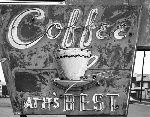 """Jim Dow, """"Coffee At It's Best"""" sign. US 11, Pittston, PA 1973"""
