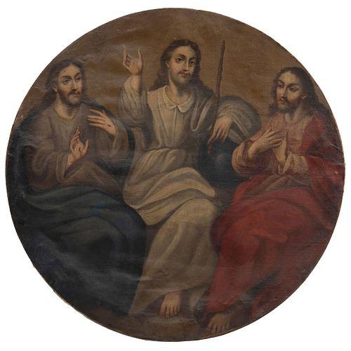 TRINIDAD ANTROPOMORFA MÉXICO, SIGLO XIX Óleo sobre tela, formato oval Detalles de conservación Repintes 105 cm de diámetro