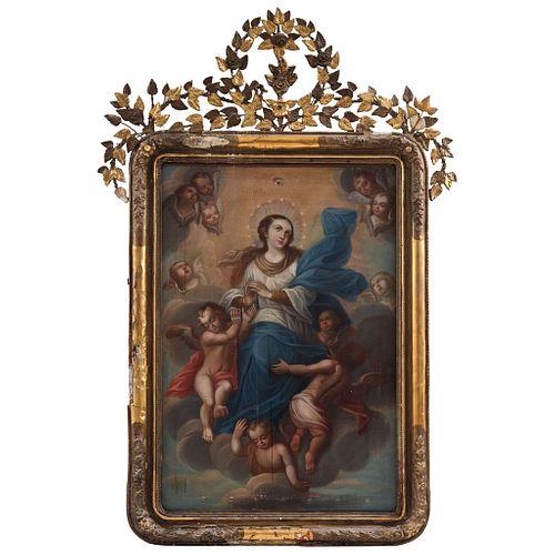 VIRGEN INMACULADA  MÉXICO, FINALES DEL SIGLO XVIII Óleo sobre tela Detalles de conservación 107 x 71 cm