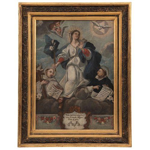 TOTA PULCHRA CON SAN BERNARDO Y SANTO TOMÁS MÉXICO, SIGLO XIX Óleo sobre tela 72 x 51 cm