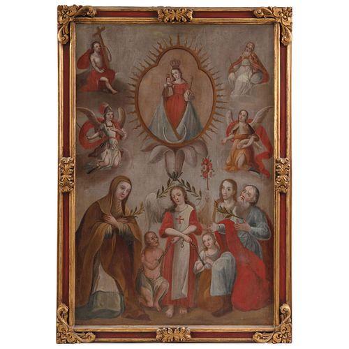LA INMACULADA GERMINA DEL PECHO DE SAN JOAQUÍN Y SANTA ANA MÉXICO, SIGLO XIX Óleo sobre tela 162.5 x 107 cm