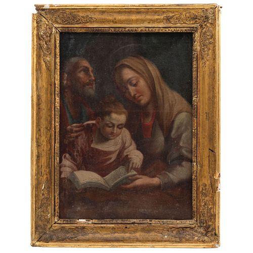 LA EDUCACIÓN DE LA VIRGEN MÉXICO, SIGLO XVIII Óleo sobre tela  Detalles de conservación 36 x 27 cm