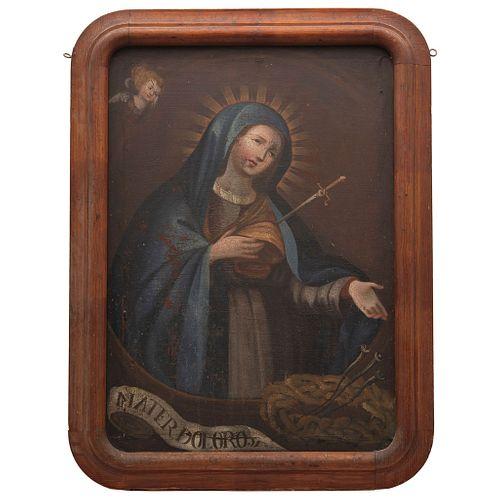 VIRGEN DOLOROSA MÉXICO, SIGLO XIX Óleo sobre tela. Con la inscripción: Mater dolorosa Detalles de conservación 74 x 51 cm