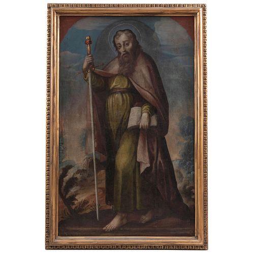 ATRIBUIDO A MIGUEL JERÓNIMO ZENDEJAS PUEBLA, (1720-1815) SAN PABLO Óleo sobre tela Firmado: Mig. Zendejas fec.t  143 x 87 cm