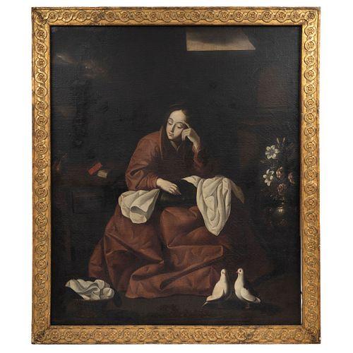 A LA MANERA DE FRANCISCO DE ZURBARÁN (1598-1664) LA CASA DE NAZARETH Óleo sobre tela 155 x 130 cm