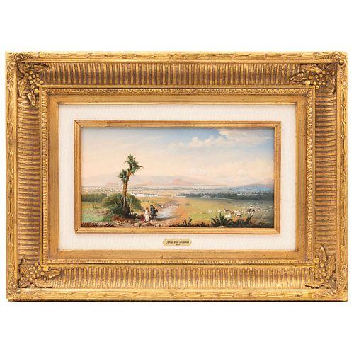 CHAPMAN, CONRAD WISE (ESTADOS UNIDOS DE AMÉRICA, 1842 - 1910) EL VALLE DE MÉXICO (1876)  Óleo sobre tabla 21 x 41 cm
