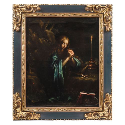 ATRIBUIDO A JOSÉ JUÁREZ  MÉXICO, SIGLO XVII MARÍA MAGDALENA PENITENTE Óleo sobre tela Firmado 71 x 58 cm