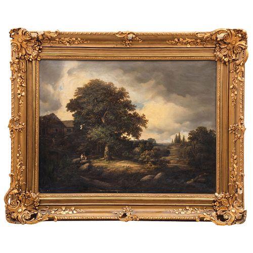 APOLLINARY GILYARIEVICH GORAVSKY (BIELORRUSIA, 1833-1900)  PAISAJE CON ARBOLEDA Y CAMPESINOS  Óleo sobre tela 90 x 119 cm