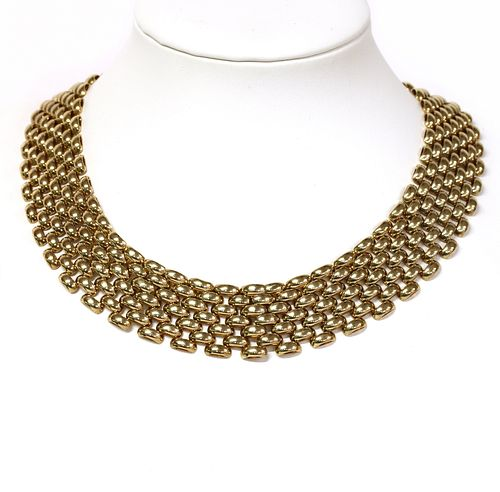 A 9ct gold seven row panther link necklace,
