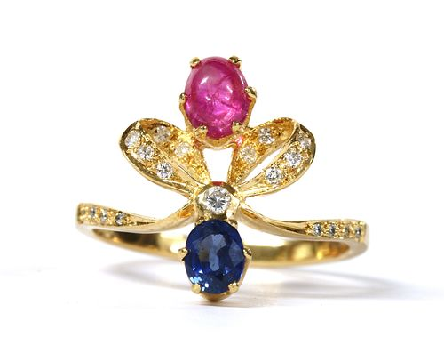 A gold ruby, sapphire and diamond ring,