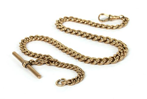 A 9ct gold graduated curb link Albert chain,