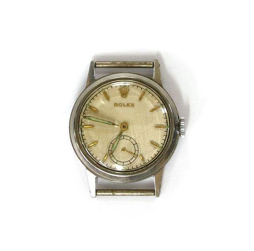 A stainless steel Rolex mechanical watch head,