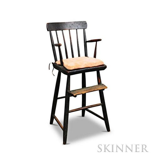 Black-painted Child's Windsor High Chair