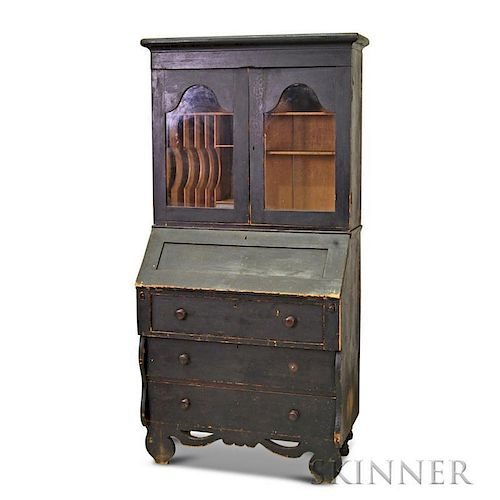 Country Black-painted, Glazed Desk/Bookcase