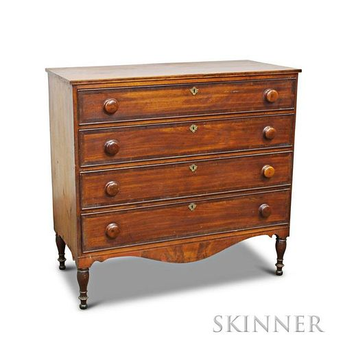 Federal Inlaid Cherry and Mahogany Veneer Chest of Drawers