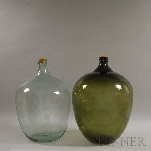 Two Blown Glass Demijohns